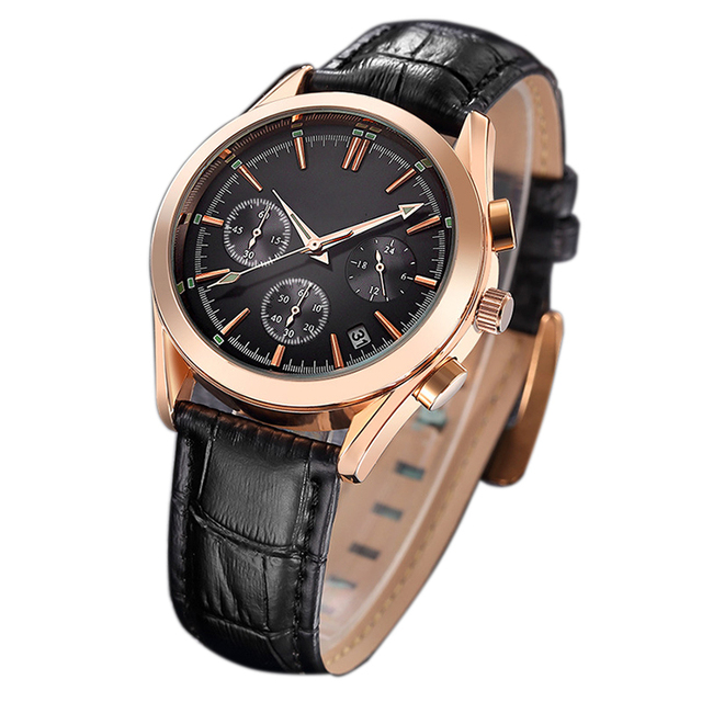 China Factory Supply Luminous Hands Chronograph Mens Watch Rose Gold Case