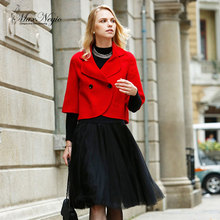 Maxnegio korea women winter coat ladies short design red coat