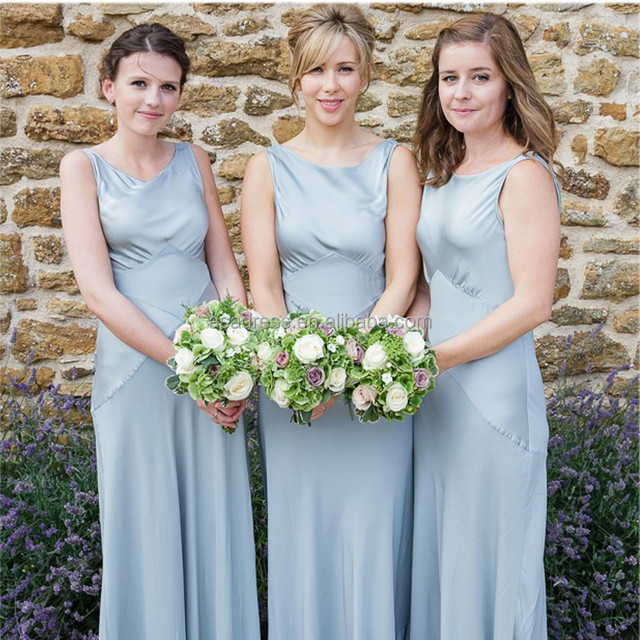 BD21 New Arrival Girl Prom Gowns High Collar Long Grey Satin Bridesmaid Dress Patterns