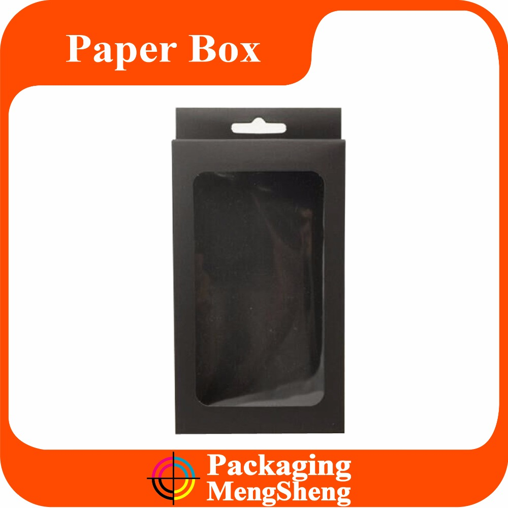 cheap price brown kraft box for iphone sumsung mobile phone case packaging with handle and clear window