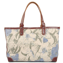 Heavy washed canvas leather flower printing shopping bag ladies canvas bag tote bag
