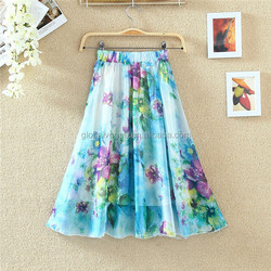 Summer new Korean national wind thin section elastic chiffon retro print cool short dress
