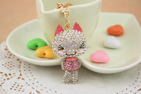 China wholesale 3D design crystal metal animal fox keychain