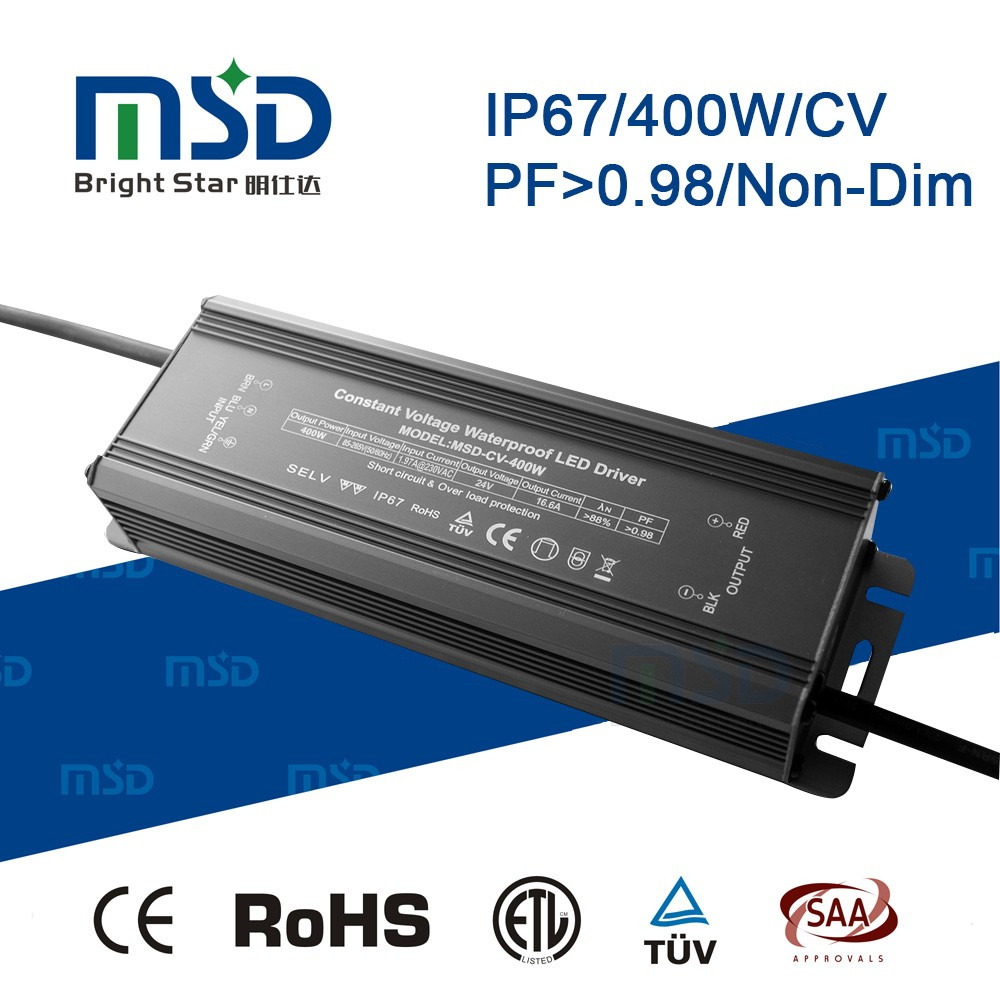 5 years 400W DC24V/36V 16.6A/11.1A led street light driver high power high pf constant voltage waterproof led driver