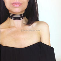 Summer Newest Fashion Jewelry Accessories Black Multilayer Suede Choker Necklace For Women XRJ0076