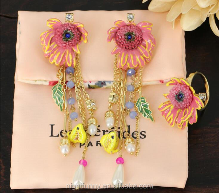 Enamelled Pink Daisy drops earring and ring set,France nature tassel earring,crystal and pearl charms earring