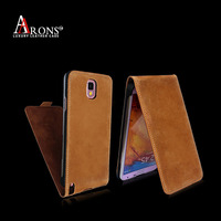 Brown genuine leather phone case for samsung note 3 flip case