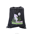 Nice polyester men draw string drawstring backpack with zipper pocket