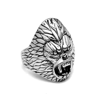 Wholesale vintage style men silver jewelry ring copper material custom monkey head animal rings