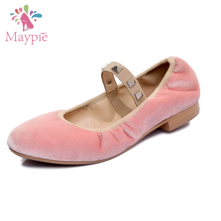 China Shoe Supplier Wholesale Womens Punk Rivet Strap Velvet Flats Ballet Pumps foldable Ballerinas