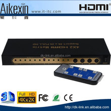 4K UltraHD HDMI 4x2 Matrix Switch Splitter | Remote Control | Audio Output: 5.1 Surround SPDIF optical/Stereo 3.5 mm Jack/ARC