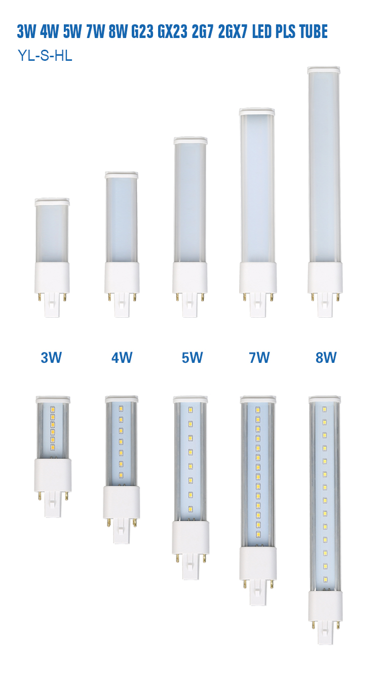 7w g23 pls led tube 2g7 led pl lamp for cfl replacement from zhejiang factory