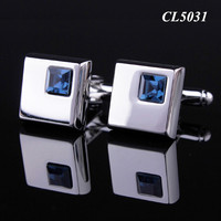 Square Shape Blue Crystal Rhinestone Popular Cuff Links