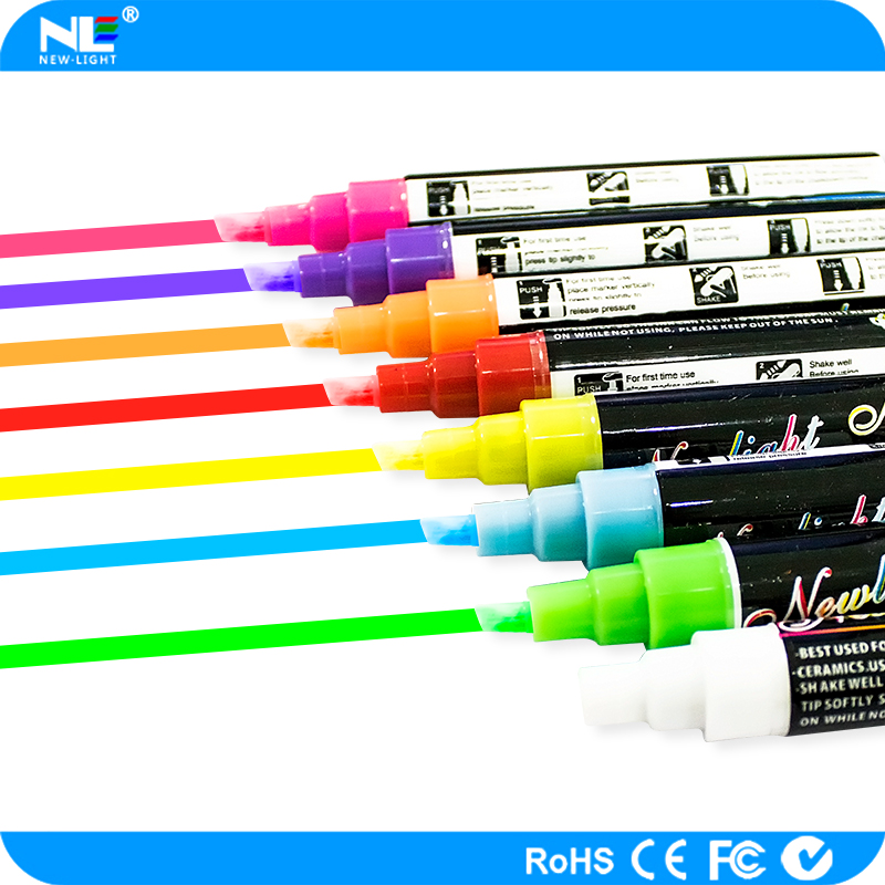 Security magic fluorescent marker pen for LED advertising writing board 8 colors in a box