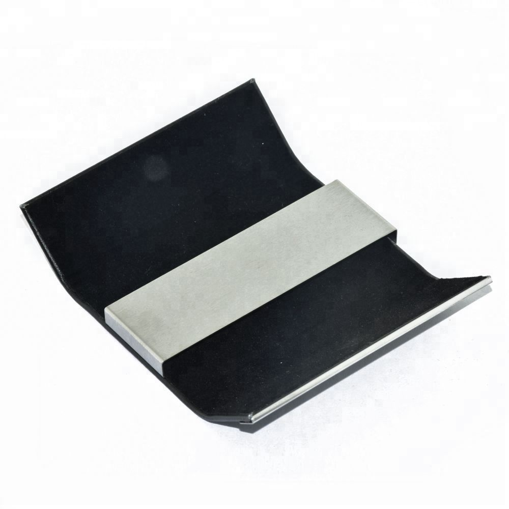 Light weight two sides open leather pu stainless id name card holder case