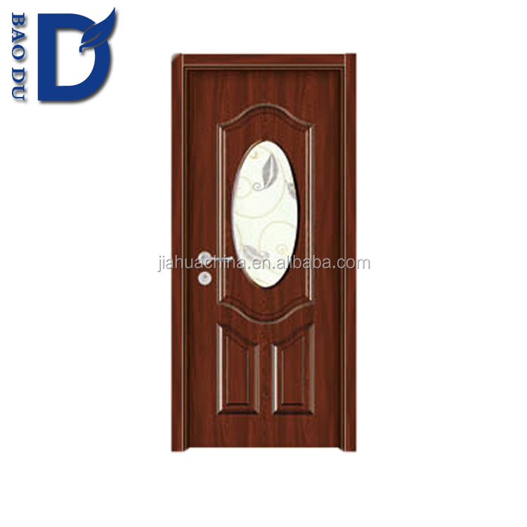 mdf pvc wooden door, wood building material pvc coating, pvc film finishing wood doors with glass insertion