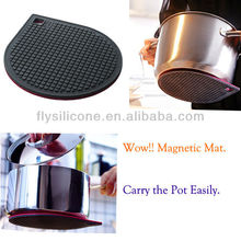 Hot Sale Kitchenware Magnetic Silicone Rubber Pot Trivet Mat Round