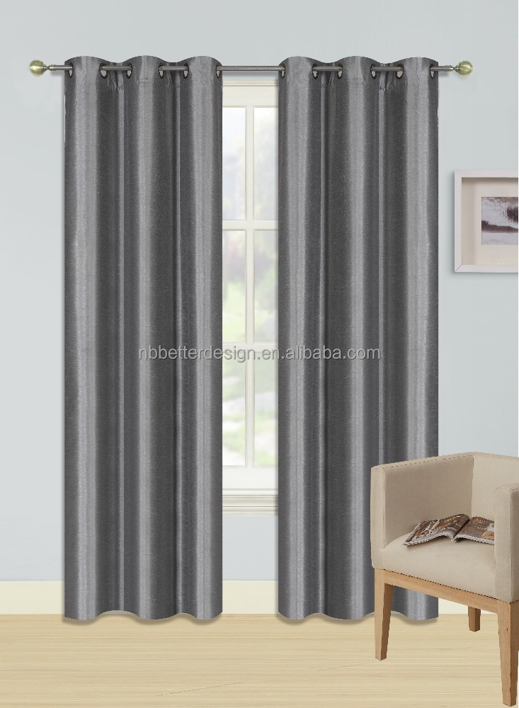 1pc Faux silk Blackout Window Curtain plain color in stock