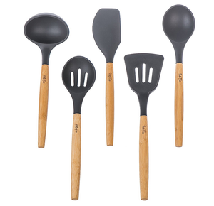 Eco-Friendly Set of 5 Pcs Bamboo Kitchen Utensil with Gray Silicone head
