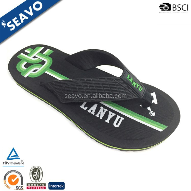 SEAVO SS17 cheap wholesale personalised mens black rubber sole beach wide strap flip flops