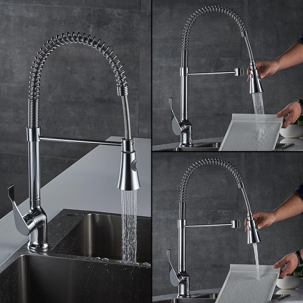 Pop up spring loaded kitchen sink mixer tap faucets