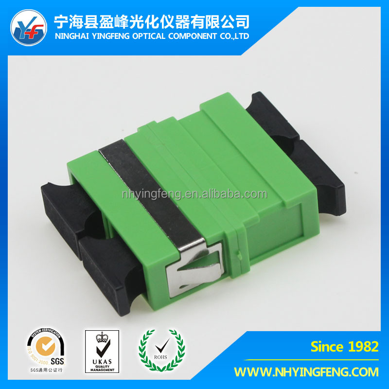 Chinese aliexpress plastic free sample online shopping plastic green SC APC DX NO-EAR welding wjth ring fiber optic Adapter