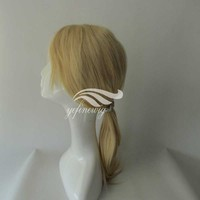 New Virgin Human Hair Wig Blonde Ponytail Full Lace Wig
