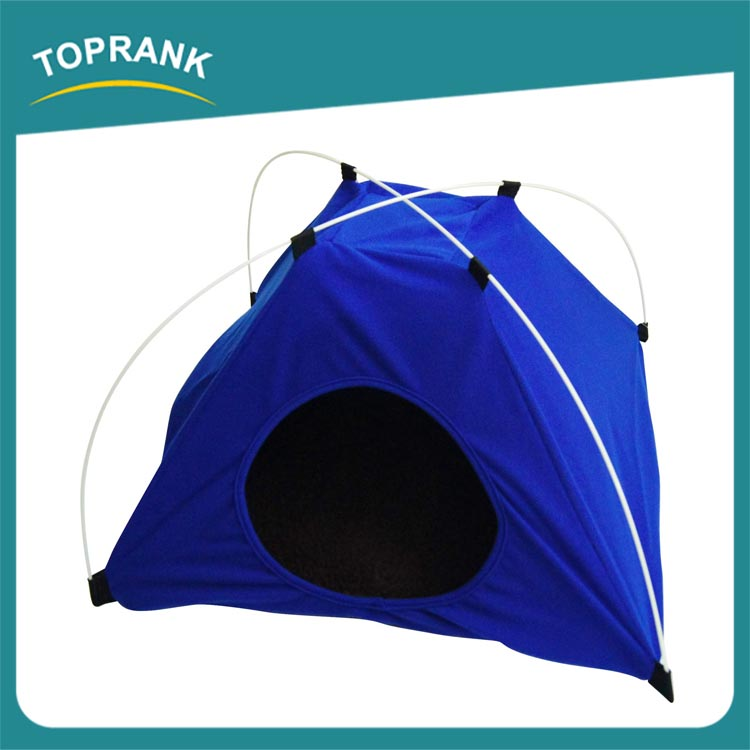 High quality blue portable folding indoor plush pet bed tent for dog