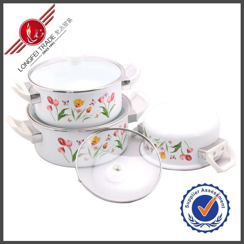 Made In China Yiwu City 3Pcs Porcelain Enamel Japanese Cookware