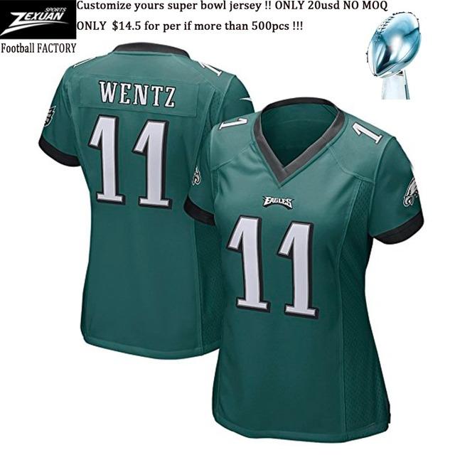 $12.8/per Super Bowl Game USA Football Lady Carson Wentz New England Eagles Women Jersey