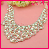 wholesale custom design fancy decorative iron on rhinestone anad pearl neck applique for wedding dress WRP-033