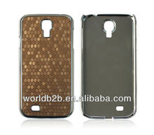 Chrome PC + Leather skin hard back case cover for Samsung Galaxy S4 i9500