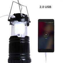 Rechargeable portable tent lantern collapsible LED powered lamp outdoor hiking flashing lighting solar USB camping light