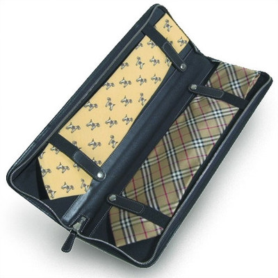 portable leather travel tie case