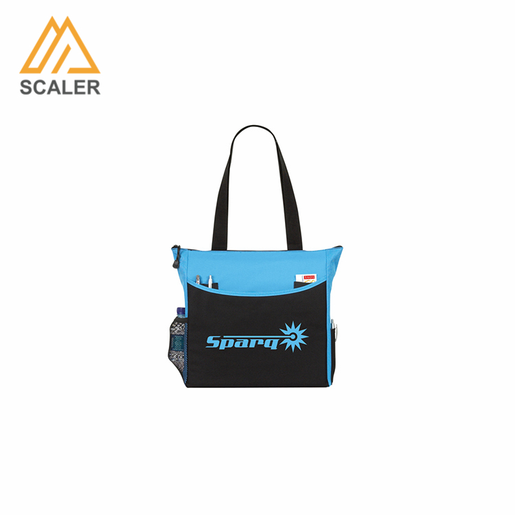 Customized new recycle 600d polyester tote bag with long handles