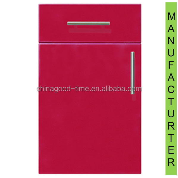 Red high gloss pvc+melalmine coated MDF used cheap kitchen cabinet door