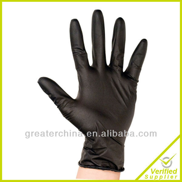 "disposable nitrile gloves 12"" black color"