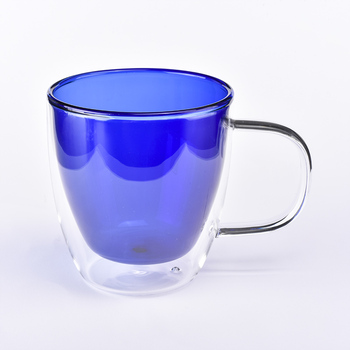 Promotional blue colored borosilicate double wall glass tea cup