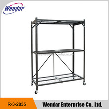 3-tiers folding metal display storage rack shelves with wheels