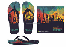 cheaper and fashion beach custom design flip flops, newest casual flip flops,customized embossed logo flip flops