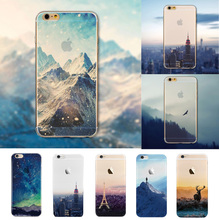 Ultra Thin Soft Silicon Mountain Landscape Case Cover For iphone 5 6 4.7'' 6 plus SE Transparent Back Cover For Phone