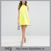 Guangzhou Wholesale Dress New Fashion Bow Back Tied Swing Mini Dress Halter Neckline Tied Fastening Open Back Yellow Mini Dress