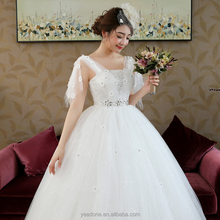 2018 New Design Straps Shoulder Women White Wedding Gown