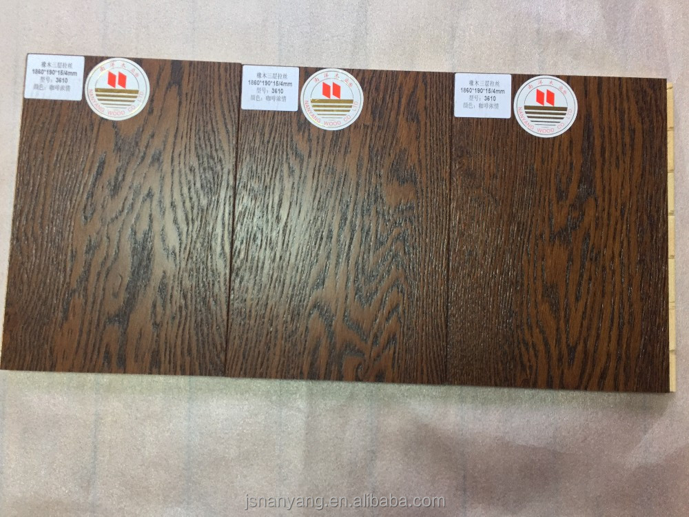 European oak brushed 3-layer engineered wooden flooring click system at factory price made in China