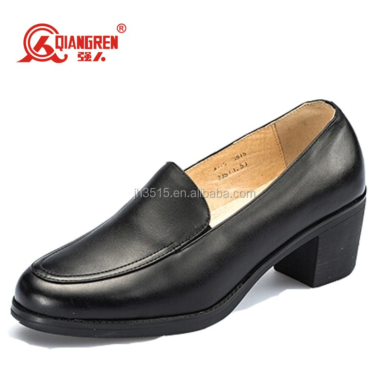 Black leather office shoes woman high heel