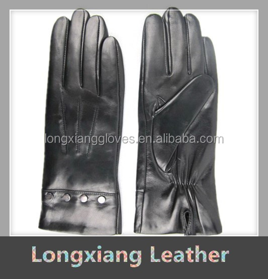 Women's Black Nappa Leather Smart Touch Gloves With Silver Rockstuds