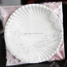 cheap disposable Cake plate wedding birthday party decorations supplies 5pcs/set(include forks)
