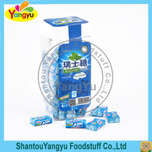 Mint flavour swiss sugar cheap milk chewy soft candy make in china with toy sticker
