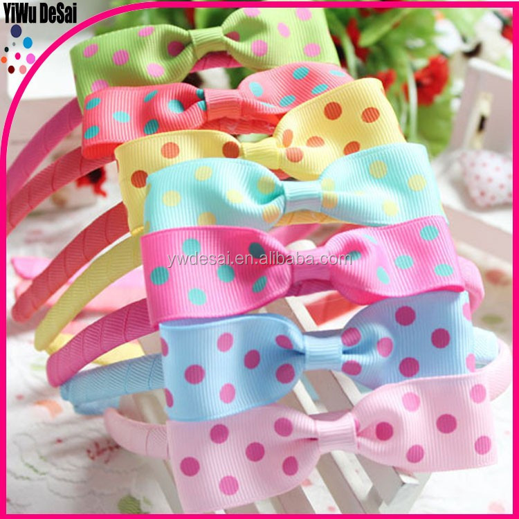 Sell lots of han edition children's hair band Bowknot wave point children hair accessories