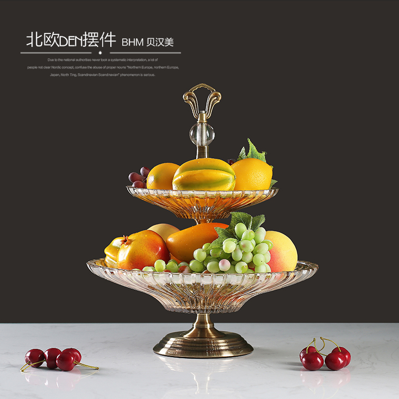 2017 New design high-end glass crystal double-glazed fruit tray for family